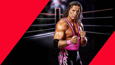 Mixed Media - Bret Hart The Hitman Wrestling Collection by Marvin Blaine