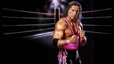 Mixed Media - Bret Hart Wrestling Collection by Marvin Blaine