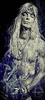 Digital Art - Bret Michaels  by Absinthe Art By Michelle LeAnn Scott