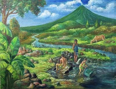 Mayon Volcano Painting - Brethren Swimming At Pawa River by Manuel Cadag