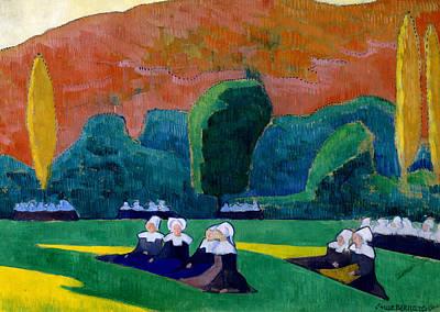Breton Women Attending A Pardon Art Print