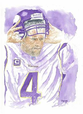 Sports Celebities Painting - Brett Favre - The Old Warrior by George  Brooks