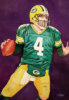 Brett Favre Green Bay Packers In Purple Art Print