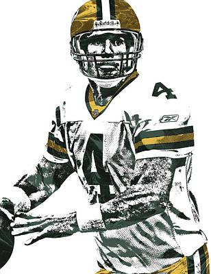 Brett Favre Green Bay Packers Pixel Art 4 Art Print by Joe Hamilton