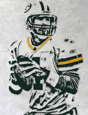 Team Mixed Media - Brett Favre Green Bay Packers Pixel Art by Joe Hamilton
