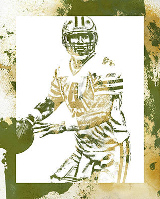 Mixed Media - Brett Favre Green Bay Packers Water Color Art 1 by Joe Hamilton