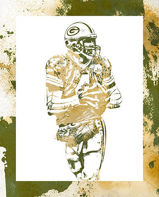Mixed Media - Brett Favre Green Bay Packers Water Color Art 3 by Joe Hamilton