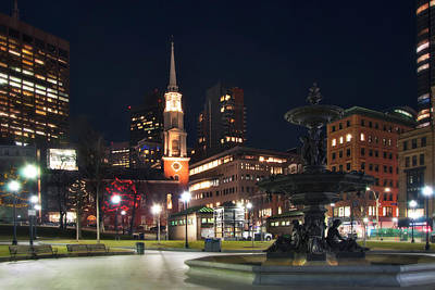 Photograph - Brewer Fountain And Park Street Church - Boston Common by Joann Vitali