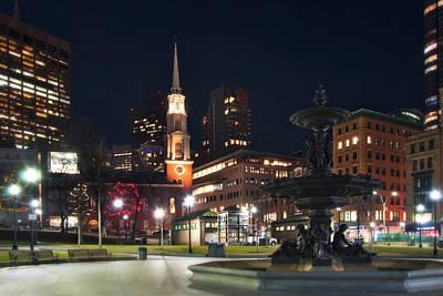Photograph - Brewer Fountain And Park Street Church - Boston Common by Joann Vitali