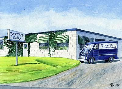 Painting - Brewer's Dairy Store, Augusta Maine, Circa 1960 by Jeff Blazejovsky