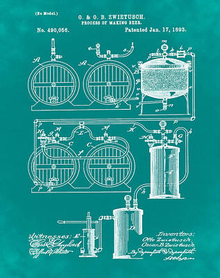 Process Digital Art - Brewing Process Patent 1893 Green by Bill Cannon