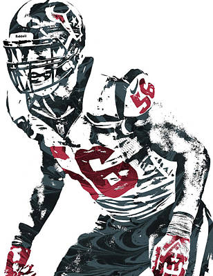 Mixed Media - Brian Cushing Houston Texans Pixel Art by Joe Hamilton
