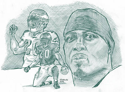 Drawing - Brian Dawkins Dkgreen by Chris  DelVecchio