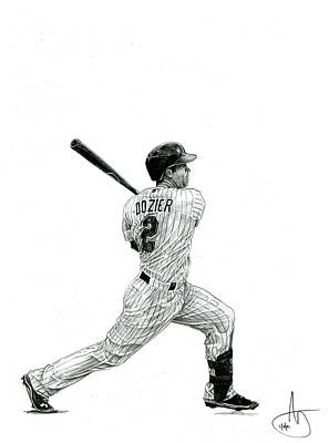 Minnesota Twins Drawing - Brian Dozier by Joshua Sooter