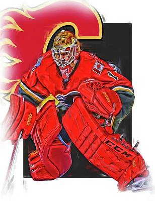 Brian Elliott Calgary Flames Oil Art Art Print by Joe Hamilton