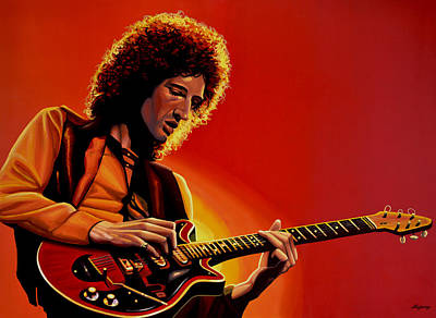 Live Painting - Brian May Of Queen Painting by Paul Meijering
