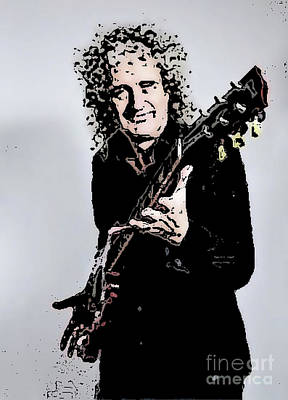 Mixed Media - Brian May Of The Rock Group Queen by Rod Jellison