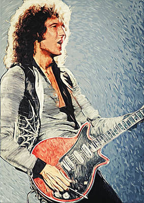 Gaga Digital Art - Brian May by Taylan Apukovska