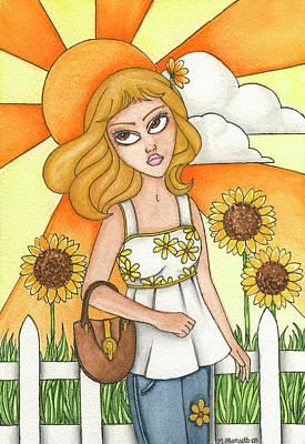 Brianna Painting - Brianna's Sunflowers by Nora Blansett