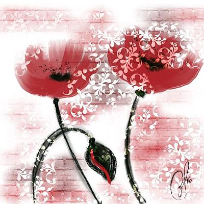 Floral Painting - Brick And Frill by Go Inspire Beauty