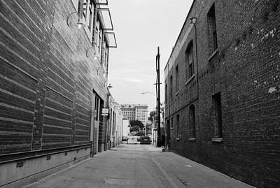 Photograph - Brick Building Alley Black And White by Matt Harang