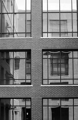 Photograph - Brick Building Black And White by Jill Reger