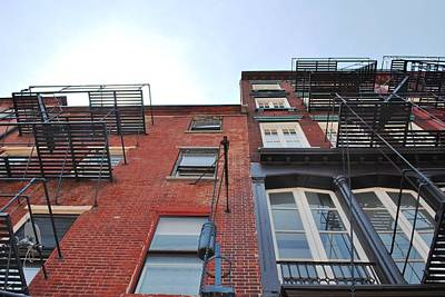 Photograph - Brick Building Fire Escapes by Matt Harang