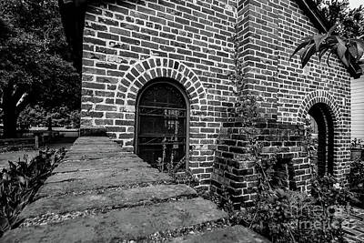 Photograph - Brick Courtyard In Black And White by Blake Webster