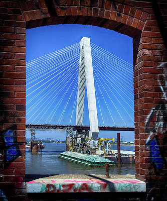 Photograph - Brick Frames a St. Louis Bridge by Brian Brandt