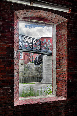 Photograph - Brick Mill Window View, Saco, Me by Betty Denise