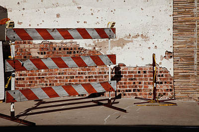 Photograph - Brick Wall And Construction Lines by Toni Hopper