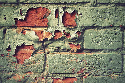 Photograph - Brick Wall Peeling Paint Texture by Joseph Skompski