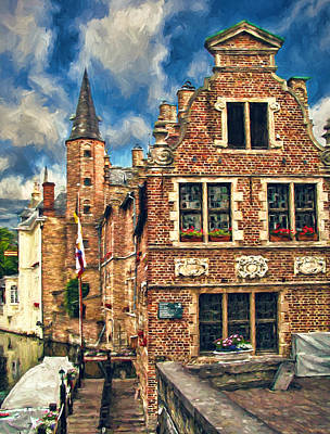 Old Photograph - Brickwork In Bruges by John K Woodruff