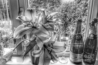 Photograph - Bridal Flowers Still Life In Greyscale by Joan-Violet Stretch