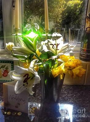 Photograph - Bridal Flowers Still Life Sparkle  by Joan-Violet Stretch