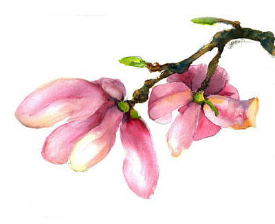 Painting - Bridal Magnolia by J Worthington Watercolors