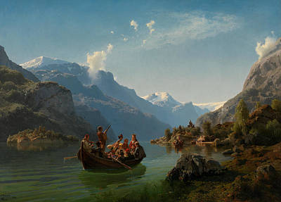 Bridal Procession On The Hardangerfjord Art Print by Adolph Tidemand