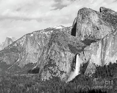 Photograph - Bridal Veil Falls 1 Bw by Cheryl Del Toro