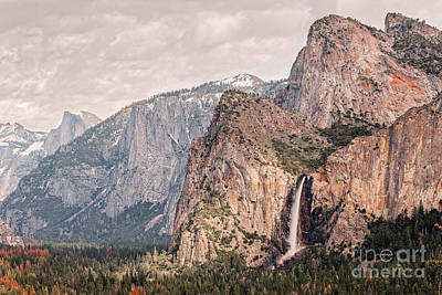 El Capitan Photograph - Bridal Veil Falls Flowing Nicely At Yosemite National Park - Sierra Nevada California by Silvio Ligutti