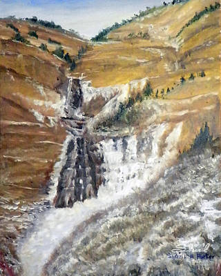Painting - Bridal Veil Falls In Winter by Sherril Porter
