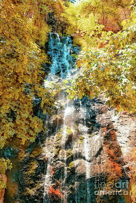 Digital Art - Bridal Veil Falls In Yellow by Joe Lach