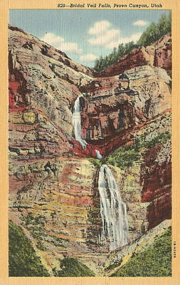 Photograph - Bridal Veil Falls Provo Canyon Utah Vintage Postcard by Colleen Cornelius