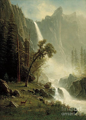 Yosemite Painting - Bridal Veil Falls Yosemite by Celestial Images