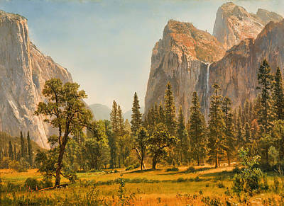 Mountain Valley Painting - Bridal Veil Falls - Yosemite Valley by Mountain Dreams