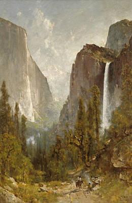 Bridal Veil Falls Painting - Bridal Veil Falls. Yosemite Valley by Thomas Hill