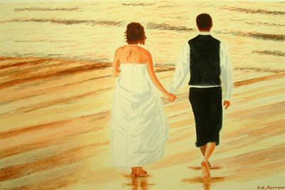 Painting - Bride And Bridegroom - Beachwalk At Sunset by Peter Farrow