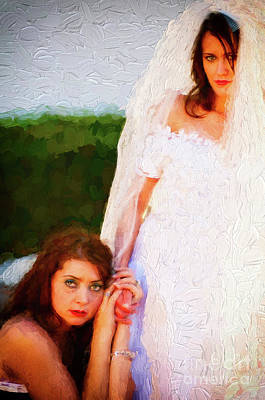 Photograph - Bride And Bridesmaid by Les Palenik