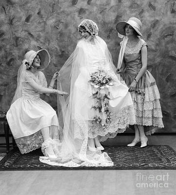 Wedding Dress Photograph - Bride And Bridesmaids, C.1900-10s by ClassicStock