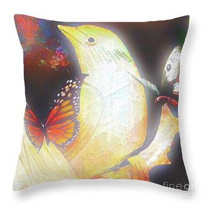 Mixed Media - Bride And Butterflies Throw Pillow by Gayle Price Thomas