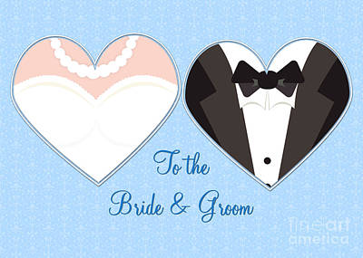Digital Art - Bride And Groom Hearts by JH Designs